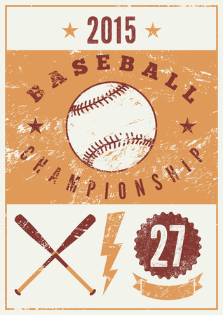 championship: Baseball typographical vintage grunge style poster. Retro vector illustration.
