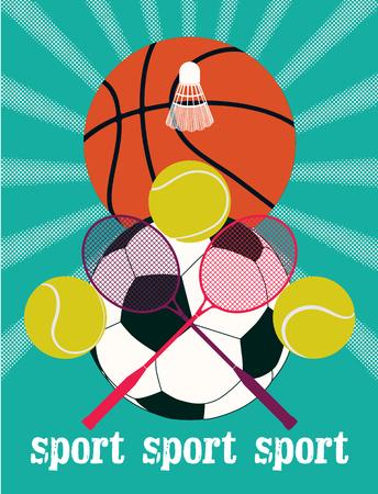 sports balls: Vintage sport games poster. Basketball, badminton, football, tennis. Retro vector illustration.