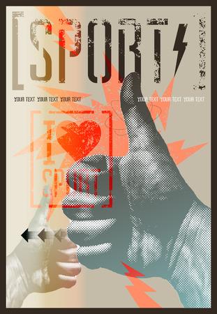 Ik hou van sport. Vintage grunge stijl sport poster. Retro vector illustratie.