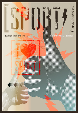 I love sport. Vintage grunge style sport poster. Retro vector illustration.