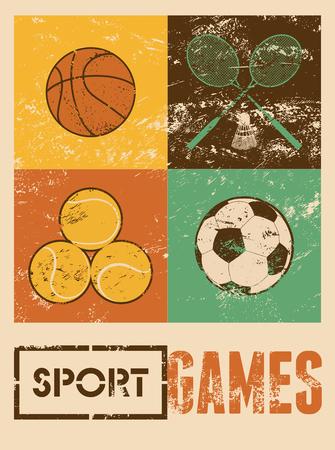 Sport games. Typografische retro grunge poster. Basketbal, badminton, voetbal, tennis. Vector illustratie.