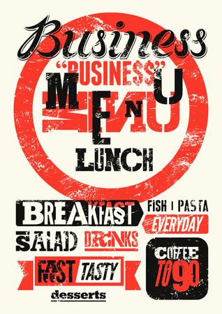 negocios comida: Menú del restaurante diseño tipográfico del grunge. Cartel almuerzo de negocios de la vendimia. Ilustración del vector. Vectores