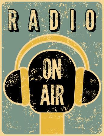 Typographic retro grunge radio station poster. Microphone