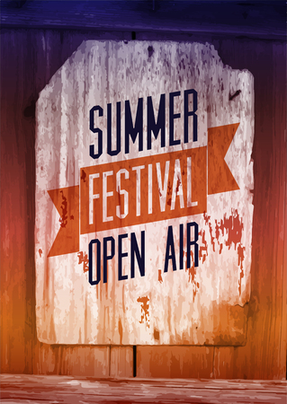 Summer festival open air poster. Retro typographical vector illustration on wood background. Eps 10.