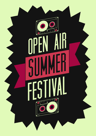 open air: Summer festival open air poster. Retro typographical vector illustration.