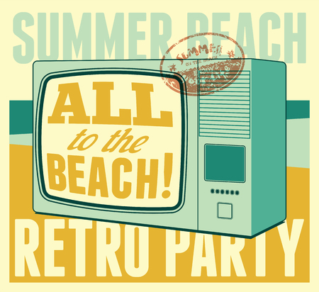 typographical: Summer beach retro party typographical poster. Vector illustration.