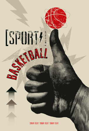Basketball vintage grunge style poster. Retro vector illustration. Иллюстрация