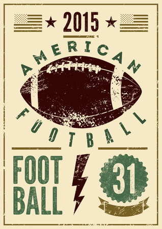 Football américain d'affiche de style vintage grunge typographique. Rétro illustration vectorielle.