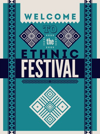 ethnic festival: Ethnic festival poster. Typographical design with folk pattern ornament. Vector illustration.