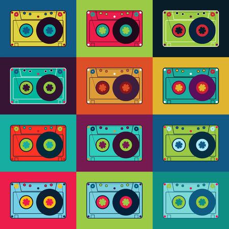cassettes: Set of retro audio cassettes. Retro poster with colorful cassettes. Vector illustration. Illustration
