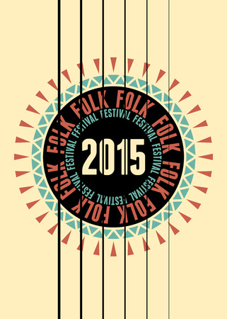 poster designs: Folk festival poster with guitar rosette. Vector illustration.