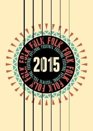Folk festival poster with guitar rosette. Vector illustration.