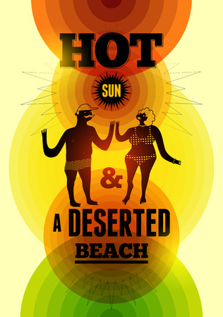 deserted: Summer time retro poster. Vector typographical design with colorful circle background. Eps 10.