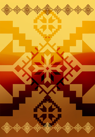 criss: Vector ethnic ornamental design on blurry background. Eps 10. Illustration