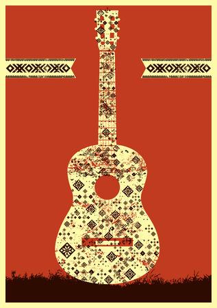 folk music: Music poster. Guitar concept made of folk ornament. Vector illustration.