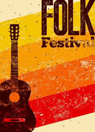 grunge music background: Folk festival poster. Retro typographical grunge vector illustration.