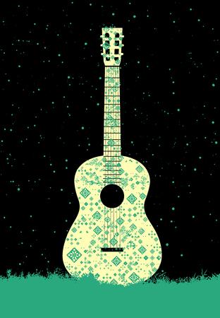 gitara: Plakat muzyki. Koncepcja Gitara wykonana z ornamentem ludowym. Ilustracji wektorowych.