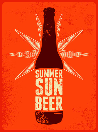 beer bottle: Summer, Sun, Beer. Typographic retro grunge beer poster. Vector illustration. Illustration