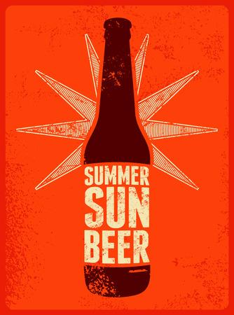 Verano, Sol, Cerveza. Tipográfico del cartel de la cerveza del grunge retro. Ilustración del vector.