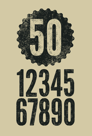 rubber stamp: Set of retro numerals with letterpress effect. Vector illustration.