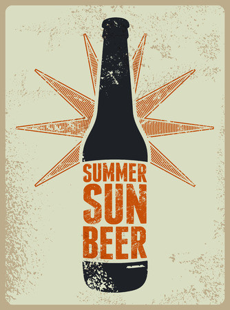 grunge bottle: Summer, Sun, Beer. Typographic retro grunge beer poster. Vector illustration. Illustration