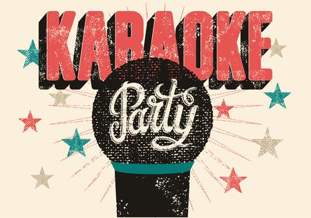 Typografische retro grunge karaoke partij poster. Vector illustratie. Stock Illustratie