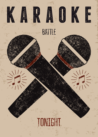 Typographic retro grunge karaoke poster. Vector illustration.  イラスト・ベクター素材
