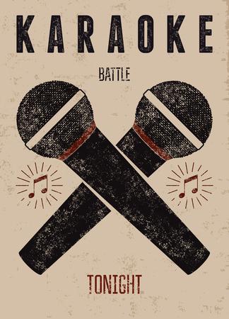 Typographic retro grunge karaoke poster. Vector illustration. Vettoriali
