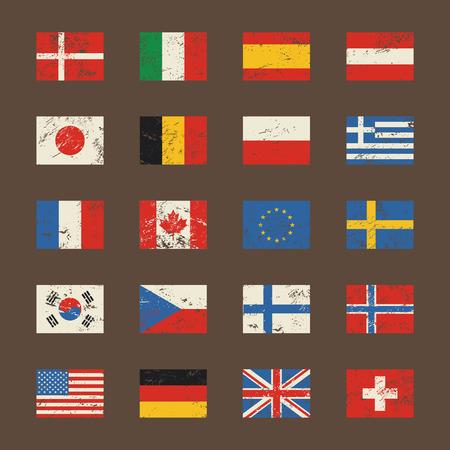 Vector set vlaggen van de wereld in grunge-stijl.