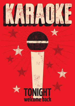 karaoke: Typographic retro grunge karaoke poster. Vector illustration. Illustration