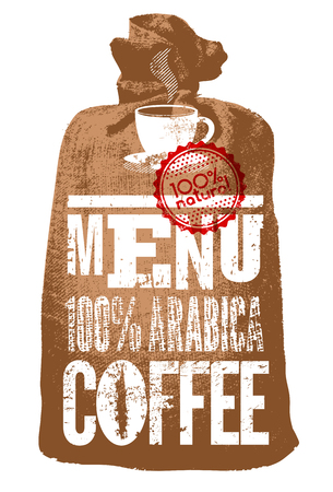 stamp seal: Coffee menu. Typographic retro poster for restaurant, cafe or coffeehouse. Vector illustration. Illustration