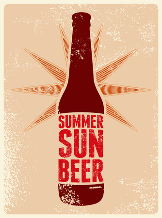 vin: Summer, Sun, Beer. Typographic retro grunge beer poster. Vector illustration. Illustration