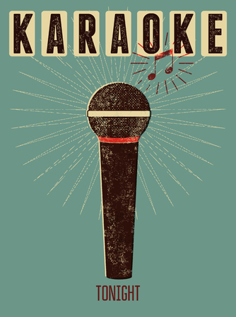Typographic retro grunge karaoke poster. Vector illustration. Illustration