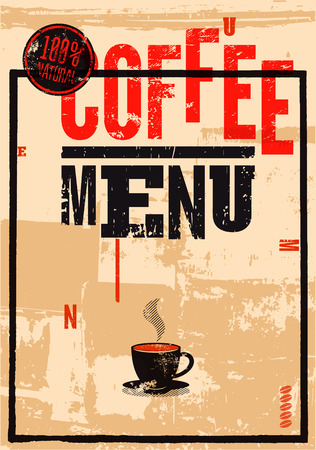 vin: Coffee menu. Typographic retro poster for restaurant, cafe or coffeehouse. Vector illustration. Illustration