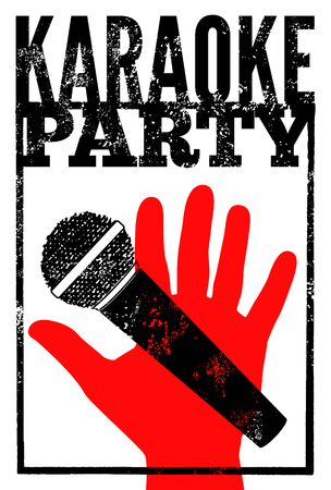 Typographic retro grunge karaoke party poster. Vector illustration.
