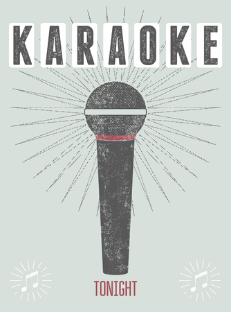 Typografische retro grunge karaoke poster. Vector illustratie. Stock Illustratie