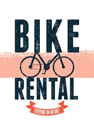 renting: Typographical vintage design for bike rental with grunge effect. Vector illustration.
