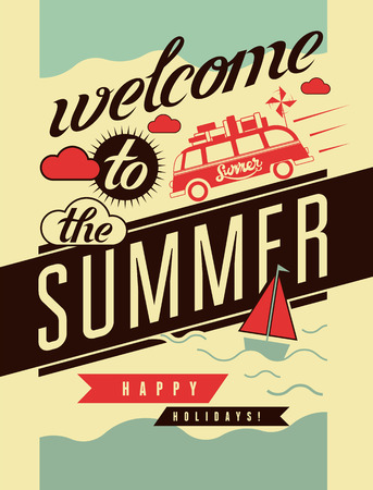 Welkom in de zomer. Typografische retro poster. Vector illustratie. Stock Illustratie