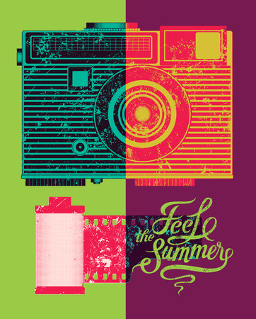 by feel: Feel the summer. Typographic retro grunge poster. Vector illustration. Illustration