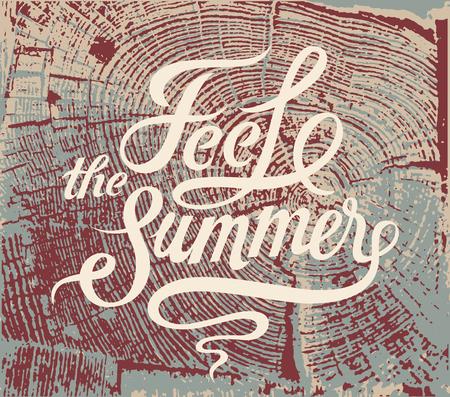 Voel de zomer. Kalligrafische retro grunge poster. Vector illustratie. Stock Illustratie