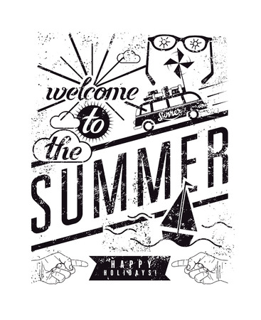 Welcome to the summer. Black-white typographic retro grunge poster. Vector illustration. Иллюстрация