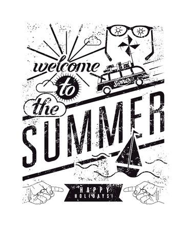 Welkom in de zomer. Zwart-witte typografische retro grunge poster. Vector illustratie.