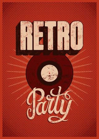 Typografische Retro Party grunge poster design. Vector illustratie.
