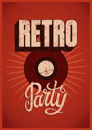Typographic Retro Party grunge poster design. Vector illustration. Иллюстрация