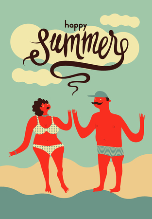 couple in summer: Happy summer. Calligraphic retro poster with cartoon couple. Vector illustration.