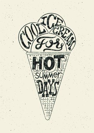 helados: Helados cartel del estilo grunge de la vendimia. Diseño de la etiqueta de la tipografía retro en blanco y negro. Ilustración del vector. Vectores