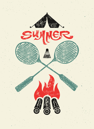 Summer camp typographic retro grunge poster. Vector illustration.