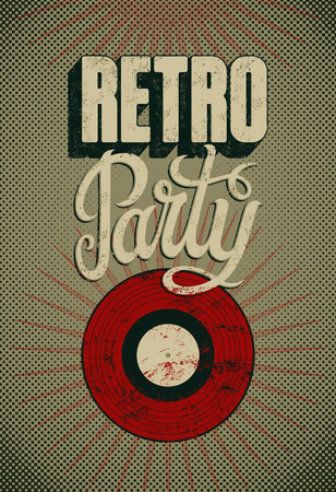 retro party: Typographic Retro Party grunge poster design. Vector illustration. Illustration