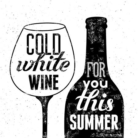 grunge bottle: Typographic retro grunge poster. Black-white wine bottle and glass for summer menu. Vector illustration. Illustration
