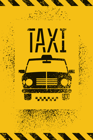 yellow taxi: Typographic graffiti retro grunge taxi cab poster. Vector illustration. Illustration